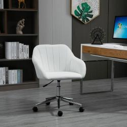 Vinsetto Cadeira de Escritório Ergonômica Giratória com Altura Ajustável Encosto e Apoio para os Braços de Pele Sintética Carga 120kg 60x59x79-89cm Branco