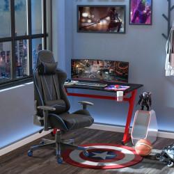 Vinsetto Cadeira de Gaming Ergonômica Reclinável e Basculante com Altura Ajustável Assento Giratório Apoio para o Braço e cabeça Reclinável e Almofada Lombar 72x77x127-137cm Preto e Azul