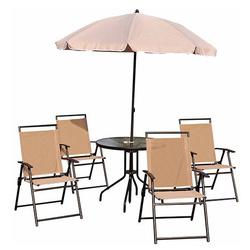 Conjunto de Móveis para Jardim ou Terraço Inclui 1 Mesa + 4 Cadeiras + 1 guarda-sol- Cor: Creme