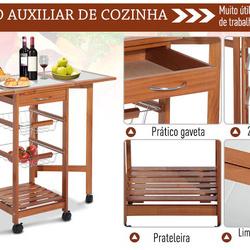 HomCom® Carrinho de cozinha Serviço Auxiliar de Madeira De metal cromado 6 rodas
