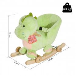 HomCom® Cavalito de Baloiço bebé +18 meses Madeira com Rodas 60x32x52cm