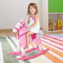 HomCom® Cavalito de Baloiço para crianças a partir de 3 anos com Sons 74x28x65cm Rosa