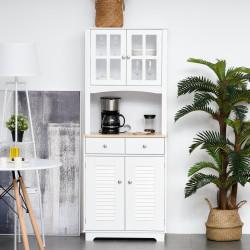 HOMCOM Armário de cozinha Armário aparador com 2 portas 2 gavetas e prateleira aberta para microondas 68x39,5x170 cm branco