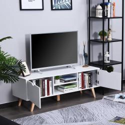 HOMCOM Armário de TV com armários Prateleiras Gerenciamento de cabos 150x39x50 Branco