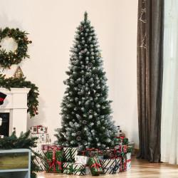 HOMCOM Árvore de Natal Artificial Ø75x180cm com 630 Ramas e 37 Pinhas Folhas de PVC Base Dobrável e Suporte Metálico Decoração de Natal para Interiores Verde