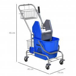 HOMCOM Balde de esfregona comercial com escorredor de rodas e capacidade de cestos de 26 L azul