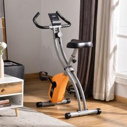 HOMCOM Bicicleta Estática Dobrável com Resistência Magnética Ajustável Volante de Inércia de 1,5kg Sensor de Pulso Assento Regulável e Tela LCD 86x47x112cm Laranja