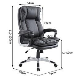 HomCom Cadeira de Escritório Preto PU 66 x 71 x 110-120cm