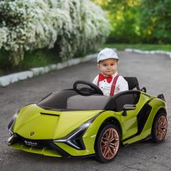 HOMCOM Carro Elétrico Lamborghini SIAN 12V para Crianças acima de 3 Anos com Controle Remoto Abertura da Porta Música MP3 USB e Faróis 108x62x40cm Verde
