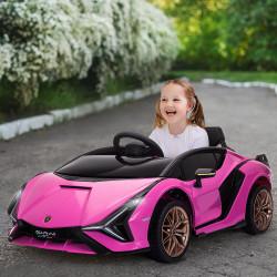 HOMCOM Carro Elétrico Lamborghini SIAN 12V para Crianças acima de 3 Anos com Controle Remoto Abertura da Porta Música MP3 USB e Faróis 108x62x40cm Rosa