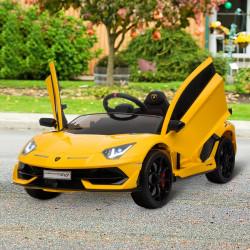 HOMCOM Carro elétrico para crianças acima de 3 anos Lamborghini SVJ Bateria 12V com controle remoto Velocidade de 3-5 km / h Música e faróis Carga 25 kg 123x66,5x45,5 cm Amarelo