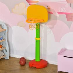 HOMCOM Cesta de Basquetebol Infantil para Crianças acima de 3 anos Altura Ajustável 2 Bolas e Inflador 52,5x44x120-160cm Amarelo Verde Vermelho