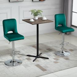 HOMCOM Conjunto de 2 Bancos de Bar Cadeiras Altas com Altura Ajustável e Giratórios com Estrutura de Metal e Apoio para os Pés 41x51x97-117cm Verde