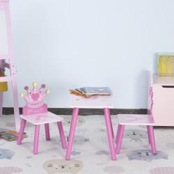 HOMCOM Conjunto de Mesa e 2 Cadeiras Infantis de madeira para crianças acima de 2 anos Set de Mesa 55x34x42cm e Cadeiras 28x26x50cm Rosa