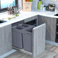 HOMCOM Cubos de Lixo para Cozinha com 3 recipientes de Reciclagem Removíveis 1x20L e 2x10L Metal e Plástico 48x34,2x41,8cm Cinza