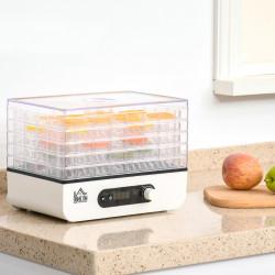 HOMCOM Desidratador de Alimentos 400W com 5 Bandejas Tela LCD Temperatura Ajustável 35-75℃ e Temporizador de 72 horas para Verduras Frutas Carne sem BPA 29x19x21,5cm Branco