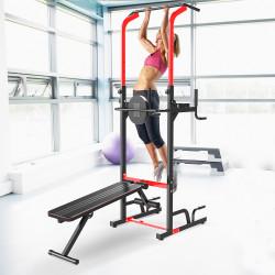 HOMCOM Estação de musculação dobrável Altura regulável 94x174x180-230 cm Preto