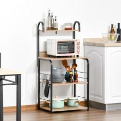 HOMCOM Estante de Cozinha para Microondas com 4 Níveis Ganchos e Pés Ajustáveis Estante de Armazenamento 60x40x125cm Madeira Natural