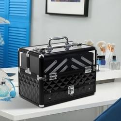HOMCOM Estojo de maquiagem ou jóias Organizador de cosméticos portátil Com alça e bandejas 30x18,5x22 cm cor Transparente e preto