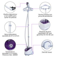 HomCom Ferro de Engomar a Vapor com Depósito de 1,8 L e Temperatura Ajustável 11 Níveis 1800 W - 21,5x30x150 cm