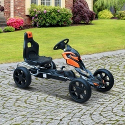 HomCom Go Kart Racing Desportivo Carro de Pedais para Crianças de 3 a 8 Anos - Preto e Laranja – 122 x 60 x 70 cm