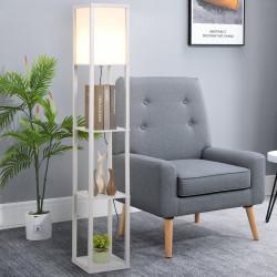 HOMCOM Lâmpada de assoalho de madeira com 3 prateleiras para sala de estar potência máxima do bulbo E27 40W 26x26x160 cm branco