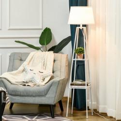 HOMCOM Lâmpada de pé Tripé de metal Soquete E27 de Máximo 40W com tela de linho e prateleira de 2 níveis 35,5x35,5x158 cm Branco