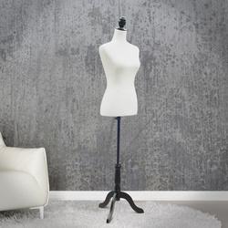 HomCom Manequim Feminino de Costura Busto de Senhora para Modistas Exibição Altura Ajustável a 130-168cm Branco