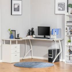 HOMCOM Mesa de canto para computador Mesa em formato de L com 3 gavetas Mesa moderna para escritório 143,5x143,5x76 cm Branco