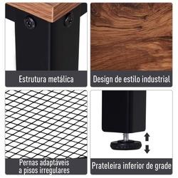 HOMCOM Mesa estilo industrial mesa de entrada com prateleira de malha de metal 101x35x80cm 10kg marrom e preto