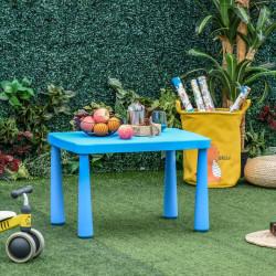 HOMCOM Mesa infantil retangular para crianças acima de 2 anos com pés e arestas redondas para interior e exterior máx. 30 kg 76,5x54,5x49,5 cm Azul