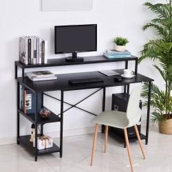 HOMCOM Mesa para Computador com Prateleiras Pés Ajustáveis Moldura de Metal 140x60x93 cm