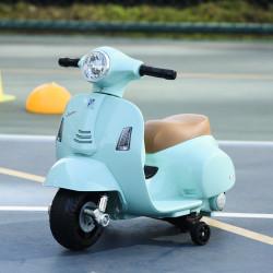 HOMCOM Mota elétrica para crianças acima de 18 meses com licença faróis buzina e 4 rodas 66,5x38x52 cm Verde