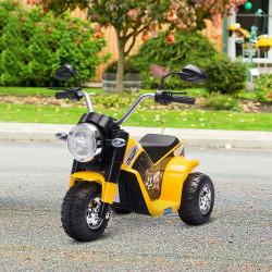 HOMCOM Motocicleta Elétrica Infantil com 3 Rodas Triciclo a Bateria 6V para Crianças de 18-36 Meses com Farol Buzina 72x57x56cm Amarelo