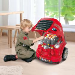HOMCOM Motor de Caminhão para Crianças acima de 3 Anos Conjunto de Motor de Brinquedo com 61 Peças Volante Buzina Faróis Caixa de Armazenamento e Rodas 40x39x47cm Vermelho