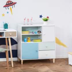 HOMCOM Móvel Infantil Cómoda para Crianças com 2 Compartimentos 2 Gavetas e 2 Armários para Armazenamento de Livros Brinquedos Roupa 80x30x85cm Azul Verde Menta Branco