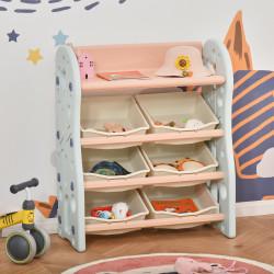 HOMCOM Organizador de Brinquedos para crianças tipo Estante Infantil com 6 Caixas para quarto Sala de Jogos Creche 76x36x92cm Creme Coral Azul