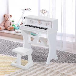 HOMCOM Piano Elétrico Infantil de 37 Teclas Conjunto de Piano com Microfone Banco Luzes e 22 Canções USB/MP3/Bluetooth Karaokê 53,5x27x63cm Branco