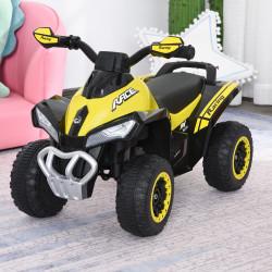 HOMCOM Quadriciclo andarinho para crianças acima de 18 meses com luzes e música 67.5x38x44 Amarelo