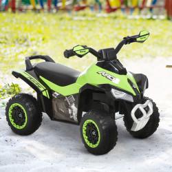 HOMCOM Quadriciclo Infantil para Crianças acima de 18 Meses com Função de Luzes e Música Desenho Inovador Suporta até 20kg 67,5x38x44cm Verde