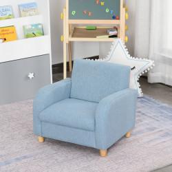 HOMCOM Sofá Infantil Mini Sofá para Crianças acima de 3 anos com Assento Acolchoado Apoio para os Braços e Estrutura de Madeira Carga Máx. 65kg 49x45x44cm Azul