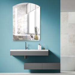 Kleankin Espelho para banheiro com luz LED 16W Interruptor de toque e prateleira inferior Cabo de 1m Estrutura de alumínio 70x50x2,7 cm prata