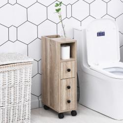 Kleankin Gabinete de banheiro de projeto compacto, amplo espaço de armazenamento Roda giratória 18 x 30 x 68,5 cm cor de grão de carvalho