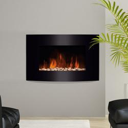 Lareira Eléctrica com Aquecimento e chama LED decorativa- Aço Inoxidável- Cor: Preto- 65 x 11,4 x 52 cm