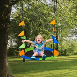 Outsunny Balanço de jardim ninho Altura ajustável com cordas e bandeiras para crianças e adultos Carga 150 kg Interno e Externo Ø100x180 cm Multicolor