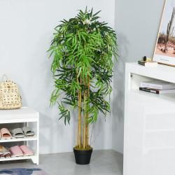 Outsunny Bambu Artificial 150cm com Vaso Decorativo Planta Sintética Realística Ø18x150 cm Verde