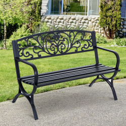 Outsunny Banco de jardim de 2 lugares Banco de terraço de ferro com design clássico 127x60x85cm preto