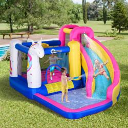 Outsunny Castelo inflável infantil com piscina escorregador cama de salto e bolsa de transporte 380x320x210 cm Multicolor