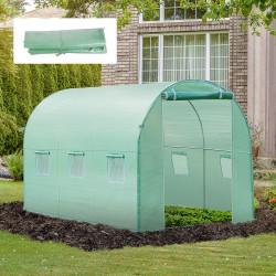 Outsunny Cobertura de Estufa com 6 Janelas e Porta para Jardim Anti-UV e Anti-envelhecimento PE 300x200x200 cm Verde