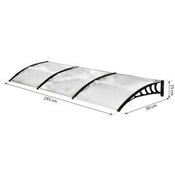 Outsunny Cobertura telhado para portas janelas toldo Terraços de policarbonato de 5mm Transparente Proteção contra chuva e sol 90x295x25cm